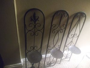 3 Lg Wrought Iron wall Decor Candle Holders for Sale in Cincinnati, OH