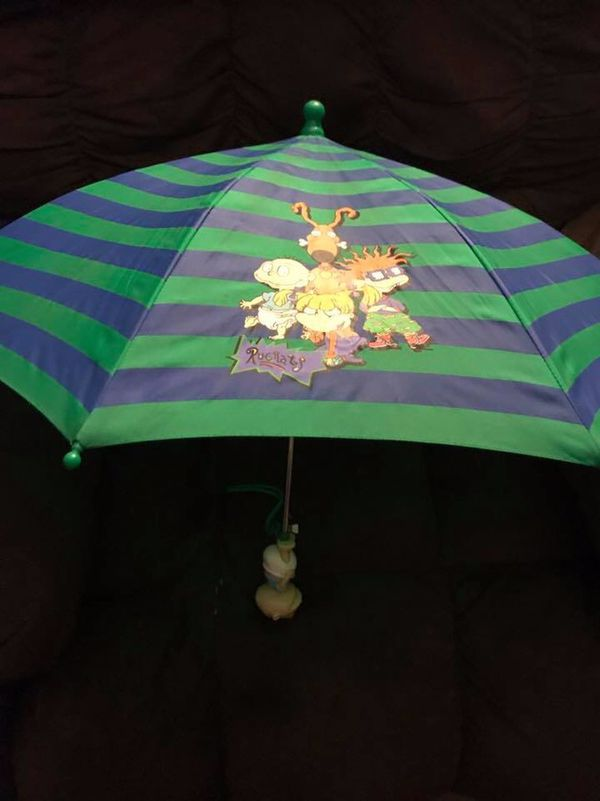 VGUC 1998 Rugrats Popup Child's Umbrella - Graphics on both sides of Fabric are Great - Tommy Handle is good shape in front - some wear on back diap
