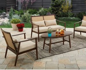 New!! 4 pc cushioned coffee table patio set, outdoor conversation set, chat set, patio furniture for Sale in Phoenix, AZ