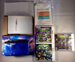 Nintendo Blue 3DS XL Pokemon X and Y Handheld System + 3 Games for Sale in Oklahoma City, OK
