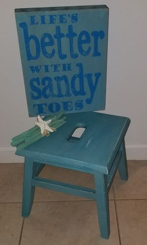 Step stool refinished, beach sign and decor for Sale in Port St. Lucie, FL
