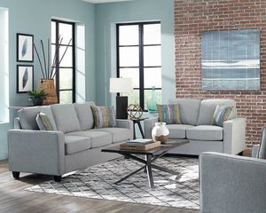 BRAND NEW MODERN GREY FABRIC SOFA WITH ACCENT PILLOWS for Sale in KNG OF PRUSSA, PA