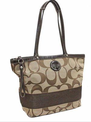 COACH signature stripe shawl tote bag khaki brown canvas patent leather F17433 for Sale in Winter Springs, FL
