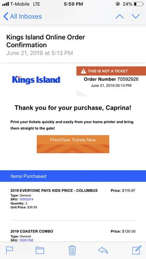5 kings island tickets and 1 parking pass for Sale in Columbus, OH