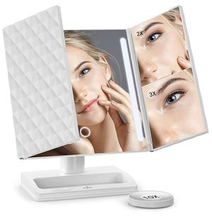 Makeup Mirror with Lights and Magnification 1X,2X,3X,10X, Lighted Vanity Mirror with Touch Screen Dimmable, Trifold Mirror with Lights and 360 Degree for Sale in Edison, NJ