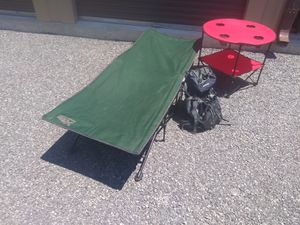 Camping Set fold out cot,table and backpack for Sale in Nashville, TN
