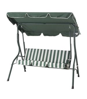Sunjoy Greenland 3-Person Green Metal Porch Swing with Green Canopy for Sale in Colton, CA