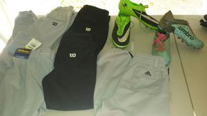 Baseball pants, shoes and bat bag for Sale in Gresham, OR