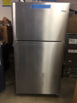 """New refrigerator top freezer whirlpool stainless steel w33"""" for Sale in El Monte, CA"""