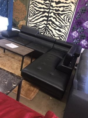Black leather sectional 1456 belt line rd suite 121 garland tx 75044 finance available ask for mike for a discount for Sale in Garland, TX