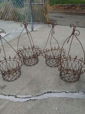 Vintage lron hanging plants baskets set for Sale in San Marcos, CA