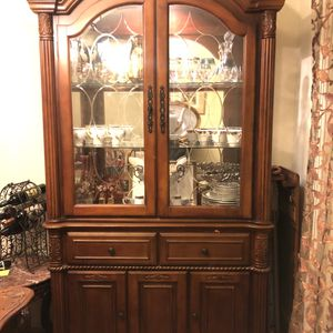 China Shelf With 2 Glass Doors, 2 Drawers and 2 Cabinets for Sale in Los Angeles, CA