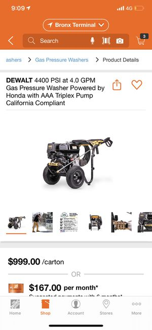 DEWALT 4400 PSI at 4.0 GPM Gas Pressure Washer Powered by Honda with AAA Triplex Pump California Compliant for Sale in The Bronx, NY