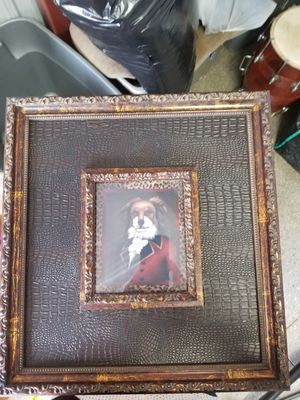 Dog portraits in wood and leather frames ,antique Set of 3 for Sale in Aurora, IL
