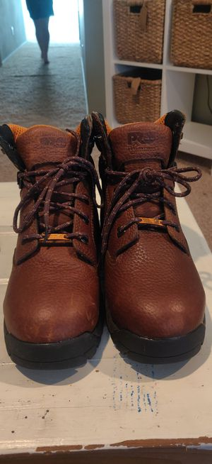 Timberland work boots. 5.5 men's, 7.5 woman's. Safety toe, anti-fatigue, brown leather, waterproof membrane. In excellent condition. for Sale in Temecula, CA