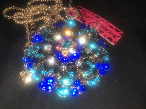 Betsy Johnson blue crystal flower 🌸 pendant brooch chain for Sale in Downers Grove, IL