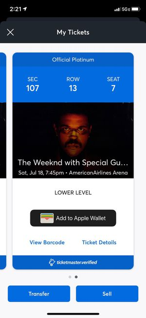 TWO TICKETS FOR THE WEEKND for Sale in Coral Springs, FL