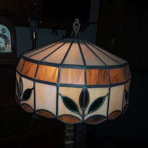 Selling ALL!! Beautiful Antique Green Marble Cast Iron floor lamp w/ slag stained glass shade for Sale in Elyria, OH