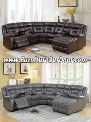 2 Colors Available - Dark Brown or Grey Leather Gel Reclining Sofa Sectional Couch for Sale in Orange, CA
