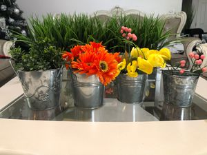SmallMetal buckets for plants or flower flowers and plant not included for Sale in Visalia, CA