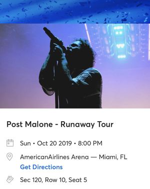 Single Post Malone Ticket with Garage Parking 10/20 8pm (AAA) for Sale in Pembroke Pines, FL