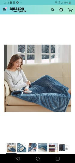 """Plush Sherpa Electric Heated Throw Blanket for Winter, Blue 50"""" X 60"""" 