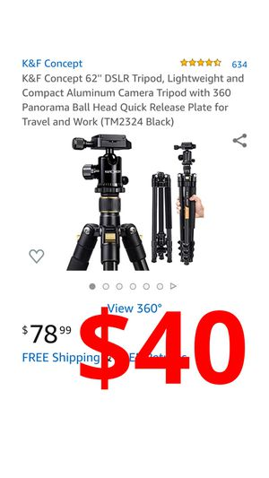 K&F Concept 62'' DSLR Tripod, Lightweight and Compact Aluminum Camera Tripod with 360 Panorama Ball Head Quick Release Plate for Sale in Ontario, CA