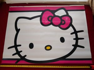 Hello Kitty vinyl wall hanging - cartoon - poster - sign - collectables - black - white for Sale in Naples, FL