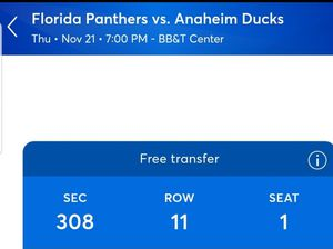 Panthers vs ducks thursday night for Sale in Sunrise, FL