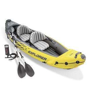 Intex Explorer K2 Kayak, 2-Person Inflatable Kayak Set with Aluminum Oars and High Output Air Pump for Sale in Oak Lawn, IL