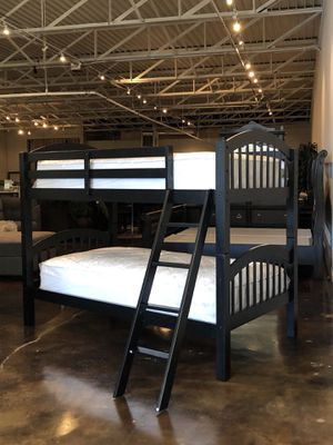Twin over twin bunk beds plus twin plush mattress (Free Delivery) for Sale in Tulsa, OK