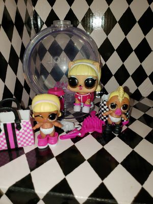 Lol winter disco 500 kitty doll, lol lil drag racer and lil drag boi for Sale in River Grove, IL