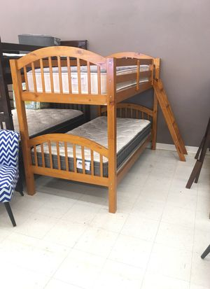 Oak twin over twin bunk bed for Sale in Charleston, SC