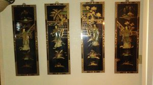 Vintage Japanese 4 piece Lacquer Geisha Girl Picture for Sale in Oroville, CA