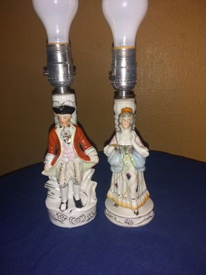 Vintage Victorian Colonial man and woman set of lamps made in occupied japan for Sale in Wichita, KS