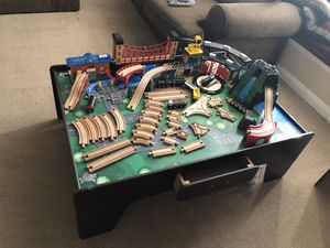 63pcs Wooden train set with table and drawer for Sale in Montclair, CA