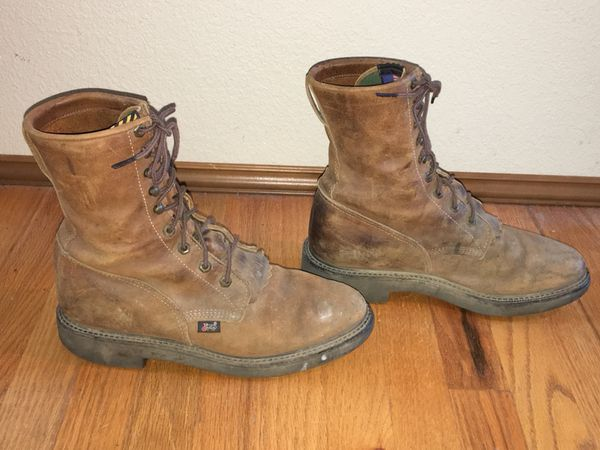 b4cc96681cc JUSTIN ORIGINAL U.S.A. MEN'S BROWN LEATHER LACE-UP EH WORK BOOTS SIZE 9 1/2  D for Sale in Puyallup, WA - OfferUp