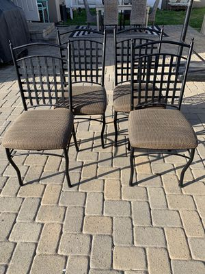4 metal chairs with tan cushions $50 for Sale in Downey, CA
