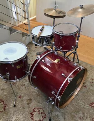 Mapex pro M series maple jazz drum set battlefield steel chrome snare PDP bass pedal Sabian cymbals pearl hihat stand $475 in Ontario 91762 for Sale in Chino, CA