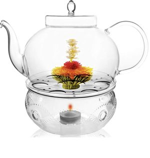 Tea Beyond Tea Services Teapot Polo 45 Oz / 1330 Ml and Glass Tea Warmer Wave Large for Sale in Houston, TX