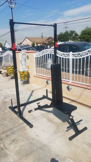 7' Squat Half Rack Adjustable with pull up bar, plate holders and a 600lbs capacity foldable Adjustable bench Brand new for Sale in Montebello, CA