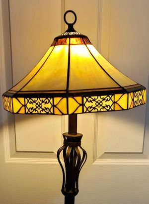 Steel Rustic Lamp with Glass & Fabric Shades for Sale in Miami, FL