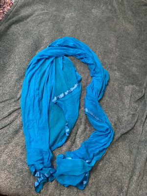Long Blue Crumple Scarf - Made in India for Sale in Ithaca, NY