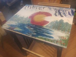 Kitchen island with pull out cutting board (Hand painted CO flag) for Sale in Arvada, CO