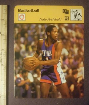 1977 Sportscaster Nate Archibald New York Nets Little Big Man Sport Photo Large Oversized Basketball Card HTF Collectible Vintage Italy NBA for Sale in Salem, OH