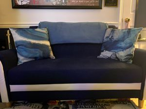 Navy Blue Fabric/White Leather Loveseat Couch for Sale in Suwanee, GA