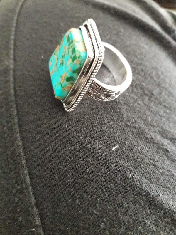 925 Silver Turquoise Ring Size 8