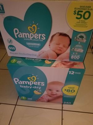 Baby-dry Pampers size 1, 240 counts... Pampers sensitive wipes 800 counts for Sale in Miramar, FL