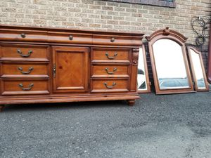 Antique Hardwood Dresser/Buffet with attachable mirror for Sale in Denver, CO