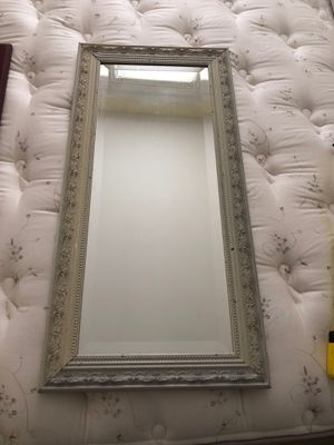 Vintage distressed mirror 35 x 17 cream color for Sale in Kildeer, IL